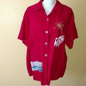 NWT Beach theme button-up blouse by cover charge